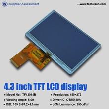 High luminance wvga tft lcd screen with 4.3 inch 480*272 tft lcd display TF43014B