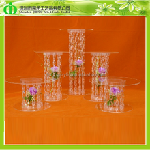 DDC-0008 Luxury Crystal Cake Stand, Clear Acrylic Stand for Wedding Cake, Transparent Acrylic Cake Stand