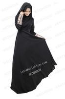 WS377 double twill fabric modern muslim abaya evening dress party wear
