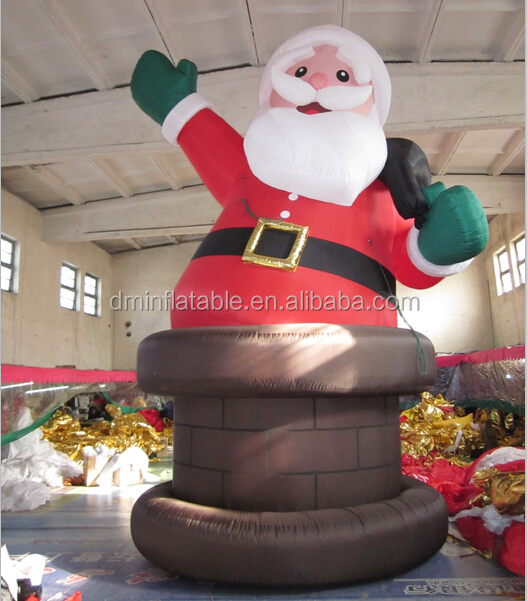 Christmas Inflatable Santa Claus Rising From Chimney