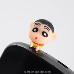 earphone jake accessory ear cap dust plugs for smartphone,cartoon ear cap dust plug, mobile phone headset hole dust plug