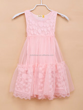 Hot selling Pink color with dot flower printing summer chlidren girl dress 2015