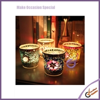 k6722 Fashion multicolour handmade mosaic small glass mousse candle holder windproof