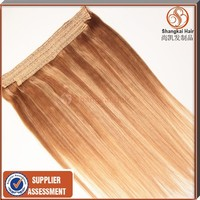 Halo Fish Line Human Hair Lace Weft/Flip-in 100% Genuine Human Hair Extension/Cover Fish Line Human Hair Weaving