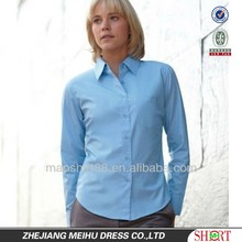 2015 latest fashion easy care quick dry slim fit women work shirt