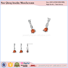 yiwu wholesale market hot products 925 silver red stone earring for party girls