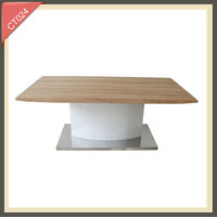 Wooden top rattan abstract art coffee table CT024