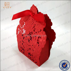 Christmas gift boxes red laser cut silk ribbon wedding candy boxes cheap gift boxes