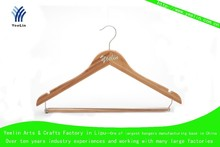 Wood hanger for suits with pants locking bar,bamboo hanger YLBM6612D-NTLD1 for supermarket, wholesaler with shiny chrome hook
