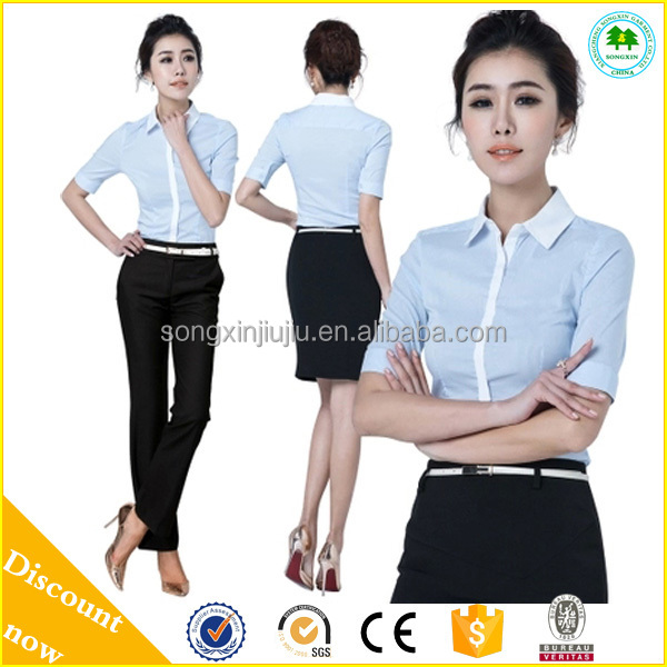 Good office uniform design for women white workwear new style for Office design uniform