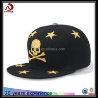simple embroidered skull oem snapback caps for men