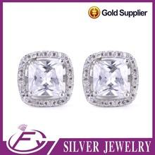 AAA grade zircon women daily wear 925 sterling silver stud earrrings