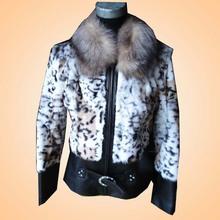 2012 Ladies' GENUINE RABBIT FUR GARMENT trim with fox fur collar,LEOPARD PRINT LEATHER JACKETS