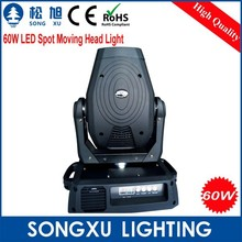 hot stage nightclub 60w led moving head light/pro lighting 60w spot moving head