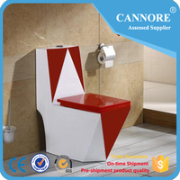High Quality Red Color Ceramic One Piece Toilet For Luxury Hotel