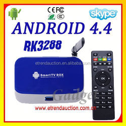 RK3288 Android 4.4 Kitkat Bluetooth 4.4.2 2.4Ghz/5Ghz Band Dual WIFI Quad Core TV Box EKB328 Factory Supply