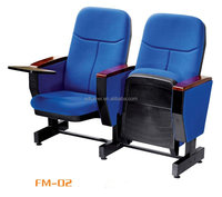 Plastic shell auditorium chair with writing board