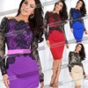 New Elegant O-Neck Knee-Length Patchwork Lace Bodycon Pencil Casual Ladies Office Dress For Women Work Wear S-XXL SYSJ-A655