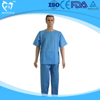 hot sale non woven pajamas set washing gowns scrub suits