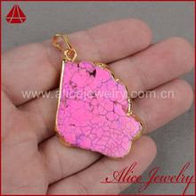 Sleeping beauty pink turquoise slice pendant, gold layered single bail pendant, gemstone pendant