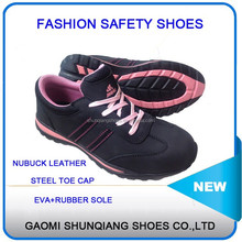 nubuck leather safety jogger shoes for woman with good quanlity, stylish lady steel toe safety shoes with EVA+rubber out sole