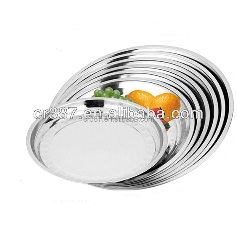 Otel yemekler/paslanmaz çelik yuvarlak tepsi hizmet metal yemek tabağı