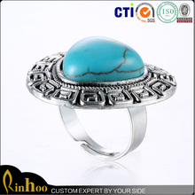 Latest fashion lovely hat shaped silver turquoise ring