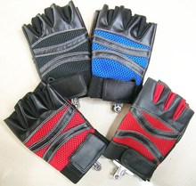 Fashion leather fingerless sport glove motorcycle gloves Wholesale T-2