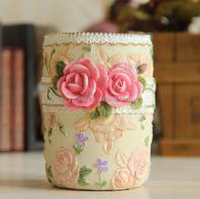 Fashion Hand painted flower resin rose pen container vase pen holder