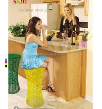 Outdoor Garden Furniture Colorful Rattan Bar Stool Modern