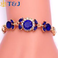 Wholesale New Design Women Gold Plated European style 3 Colors Diamond Flower Austrian Crystal Bracelets & Bangles