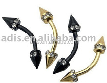 Surgical steel jeweled anodized piercing ring jewelry fake eyebrows