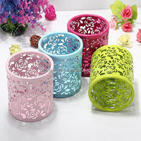 New Arrival 4 Colors Stylish Lovely Hollow Rose Flower Pattern Cylinder Brush Pen Pencil Pot Holder Container Organizer
