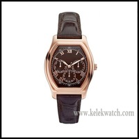 MENS RETRO BROWN LEATHER ROMAN ROSE GOLD WATCH W0251G2 MULTIFUNCTION