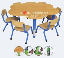 Flower-like Wooden Adjustable Children Study Desk & 6 Chairs of Kindergarton Furniture