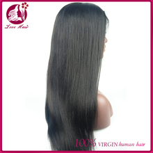 Direct from factory natural hair lace wig high quality Brazilian human hair full lace wig yaki straight