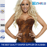 Women's Cothic Jacquard Peasant Shoulder Straps Corset with Lightly Cup