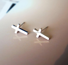 Stainless Steel Rose Gold Cross Stud earrings With Christian Cross Simple Jewelry