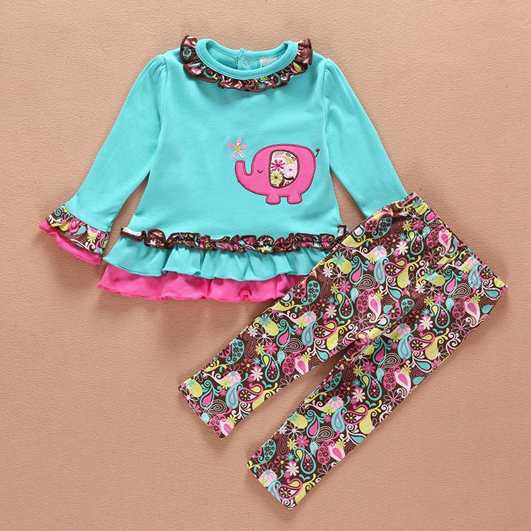 Fashion design blue elephant embroidered kids clothing and