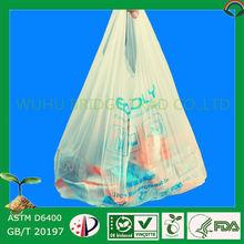 100% Plastic biodegradable t-shirt bag for supermarket