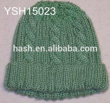 cable and rib pattern knit hat