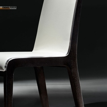 Oak Italian White Leather Wooden Dining Chair