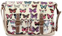 2014 Oilcloth butterfly patterns Cross Body Messenger Saddle Bag School Satchel women fashion handbag