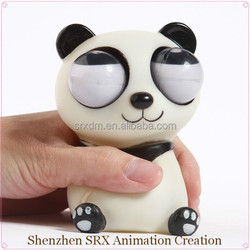 custom panda wild animal eyes pop out squeeze toy, high quality plastic custom squeeze stress reliever toys,OEM PVC squeeze toys