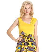 Wholesale Customized African Printing One Shoulder Women Dress