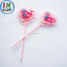 Fashion pink heart plush gift ball pen , wedding gift feather pen
