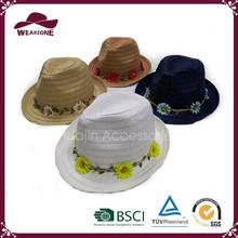 Paper straw hat, cheap straw fedora hat, summer women hat