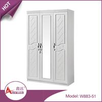 W883-51 latest design modern cheap 3 door one mirror white bedroom wooden cloth wardrobe with lock