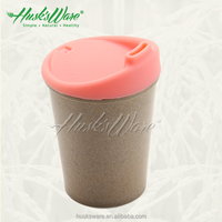 Simple biodegradable natural plant fiber small cup with LFGB silicone lid
