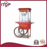 commercial automatic caramel making popcorn machine price with wheels